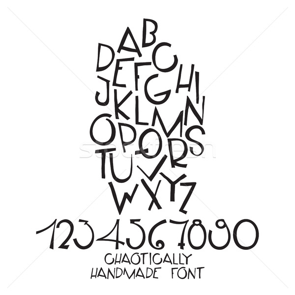 Chaotic decorative vector alphabet. Hand drawn letters, numbers Stock photo © Vanzyst