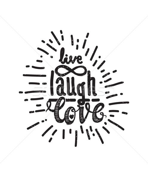 Poster vivere ridere amore universale manoscritto Foto d'archivio © Vanzyst