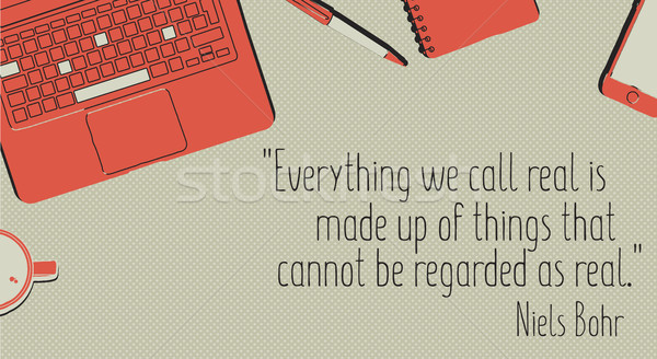 Office table with stationery items and quote  Stock photo © Vanzyst