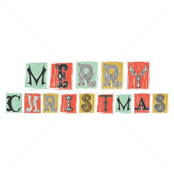 Сток-фото: веселый · Рождества · шрифт · древних · письма · барокко