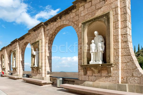 Statues on square in Montserrat monastery Stock photo © vapi