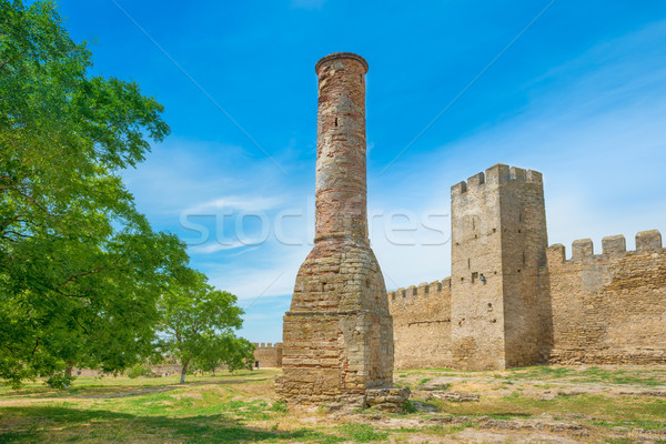 Ancient castle wall in the park Stock photo © vapi