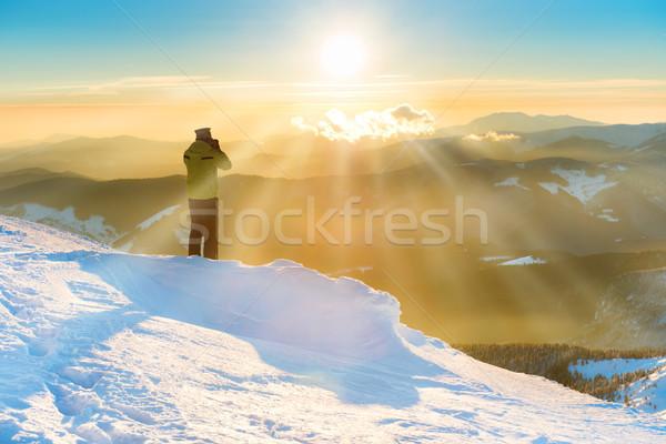 A man looking at beautiful sunset Stock photo © vapi