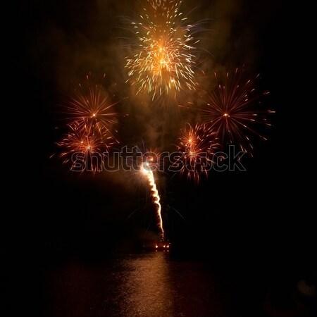 Colorido fogos de artifício preto céu água luz Foto stock © vapi
