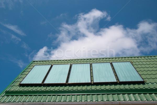 Zonnestelsel zonne water verwarming hemel huis Stockfoto © vapi