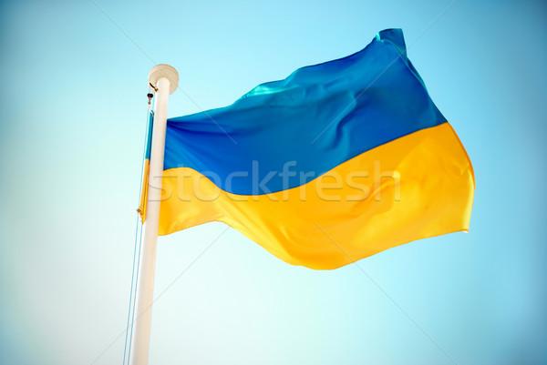 Vlag Blauw Geel hemel licht zomer Stockfoto © vapi