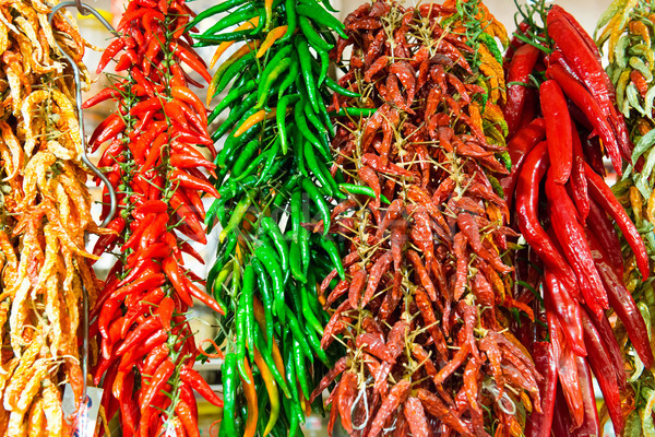 Stock photo: Red and green hot chilly peppers