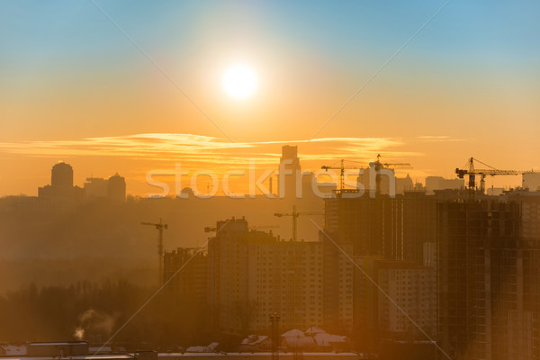 Сток-фото: закат · город · панорамный · мнение · силуэта · зданий