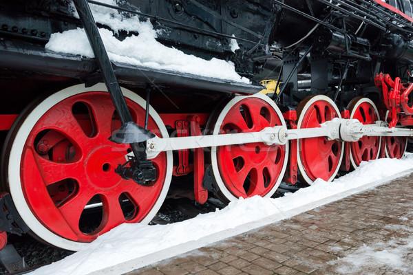 Old black steam locomotive wheels Stock photo © vapi