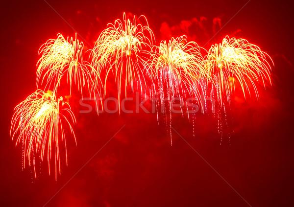 Tűzijáték fekete égbolt absztrakt fény háttér Stock fotó © vapi