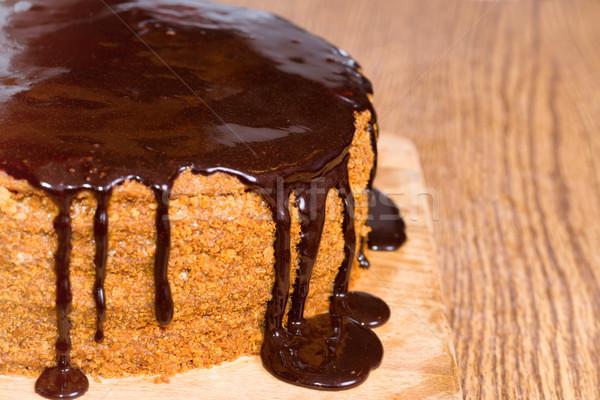 шоколадом именинный торт изолированный белый вечеринка торт Сток-фото © vapi