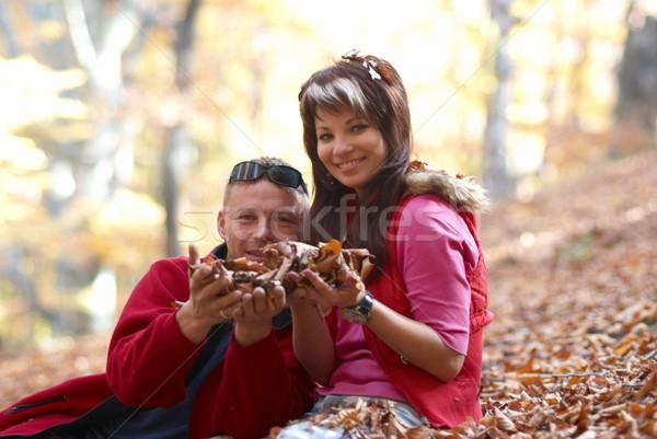 Young couple enjoying the falling leaves Stock photo © vapi