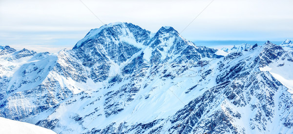 Panorama with range of mountains peaks Stock photo © vapi
