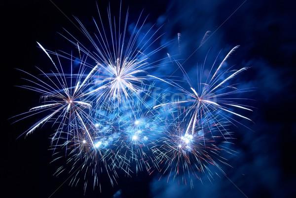 Fogos de artifício preto céu abstrato luz fundo Foto stock © vapi