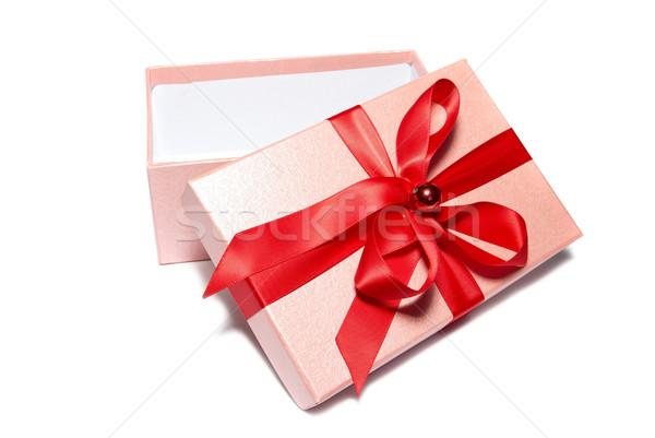 Nyitva ajándék doboz izolált fehér papír buli Stock fotó © vapi