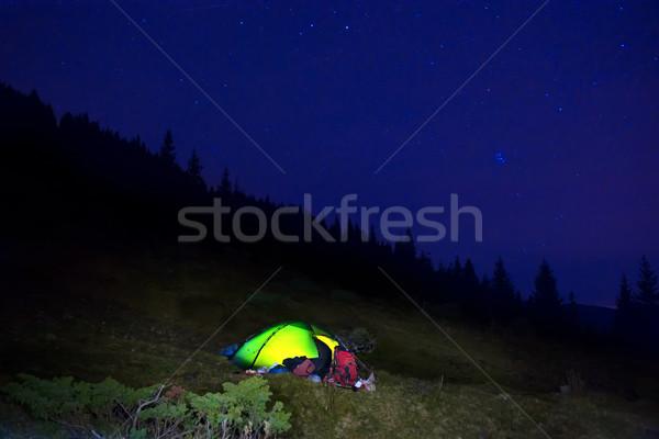 Zdjęcia stock: Pomarańczowy · kemping · namiot · gwiazdki · noc
