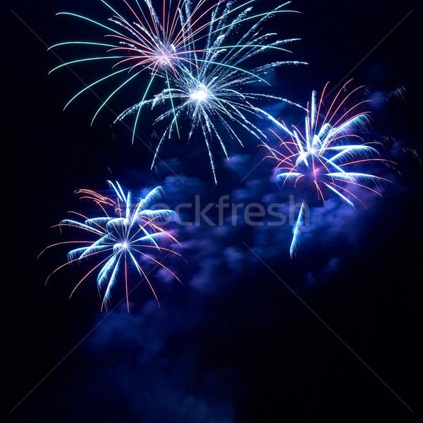 Belle feux d'artifice noir ciel heureux lumière Photo stock © vapi
