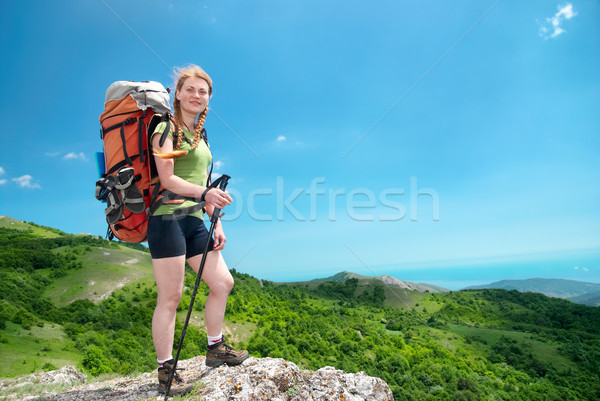 Hiking woman with backpack Stock photo © vapi
