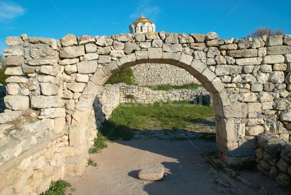 Uscire muro antica ingresso verde parco Foto d'archivio © vapi