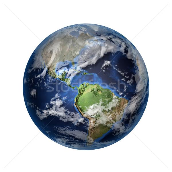 Stockfoto: 3D · afbeelding · aarde · geïsoleerd · noorden