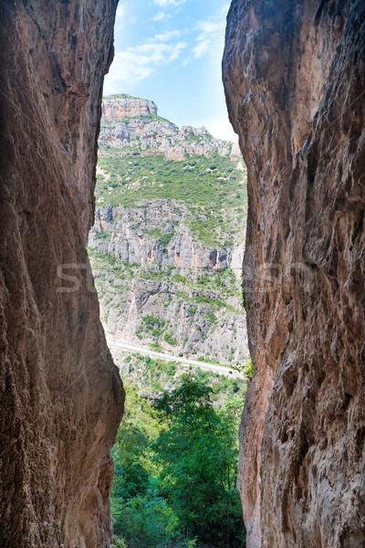 Zdjęcia stock: Wyjście · jaskini · słoneczny · krajobraz · lasu · Błękitne · niebo