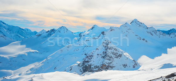 Panorama with range of mountains peaks Stock photo © vapi