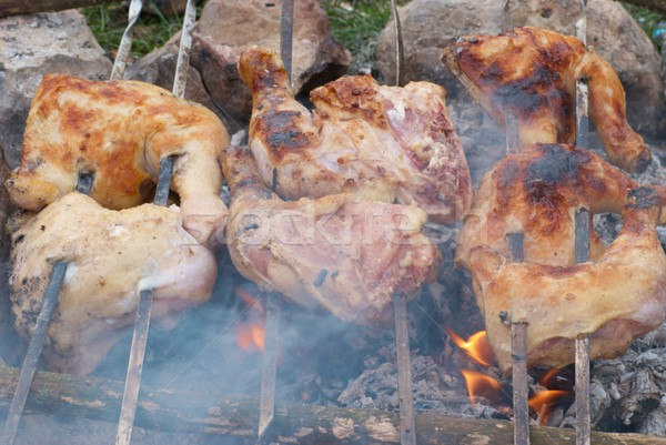Apetitoso a la parrilla brocheta metal alimentos madera Foto stock © vapi