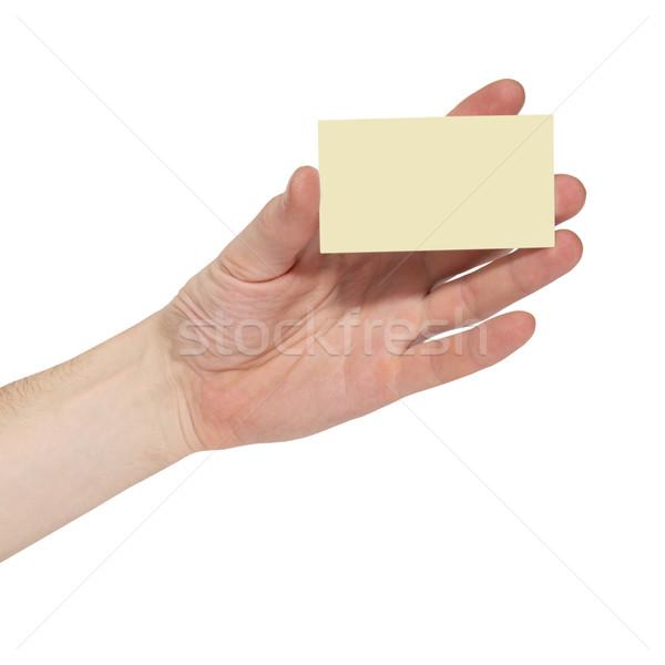 Gri kart el yalıtılmış beyaz iş Stok fotoğraf © vapi