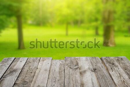 Kilátás fa asztal zöld bokeh üres fából készült Stock fotó © vapi