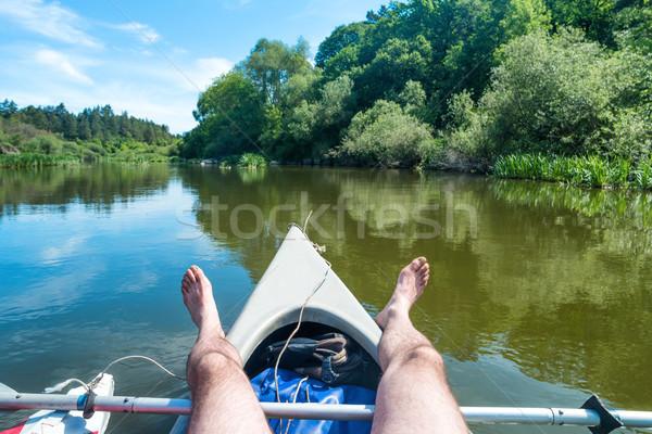 A man relaxing on kayak Stock photo © vapi