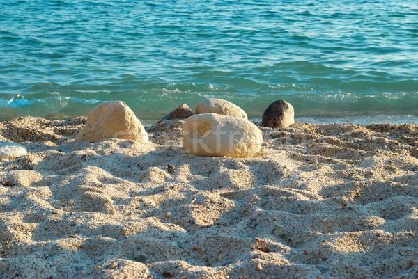 Tropikal kum plaj deniz dalgalar taşlar Stok fotoğraf © vapi