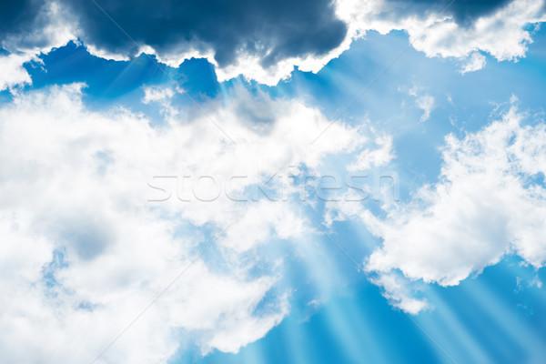 белый пушистый облака Blue Sky солнце Лучи Сток-фото © vapi