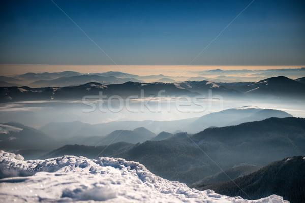 Stock fotó: Terjedelem · tél · hegyek · éjszaka · fehér · hó