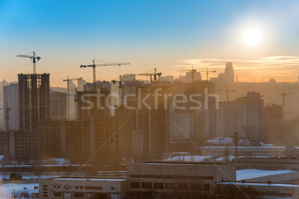 Constraction site with cranes Stock photo © vapi