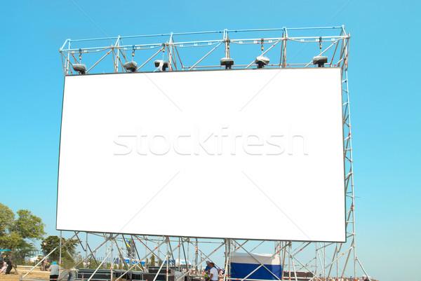Stok fotoğraf: Boş · ilan · panosu · mavi · gökyüzü · yol · televizyon · uzay