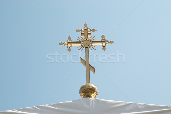 Dorado ortodoxo cruz cielo azul Pascua fondo Foto stock © vapi