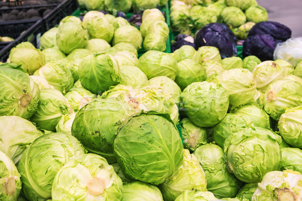 Stock photo: Fresh cabbage at farmers market