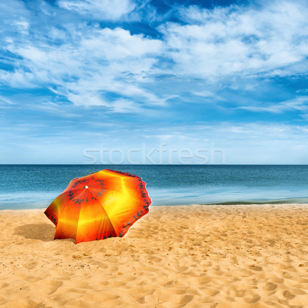 Umbrella on golden sand beach Stock photo © vapi
