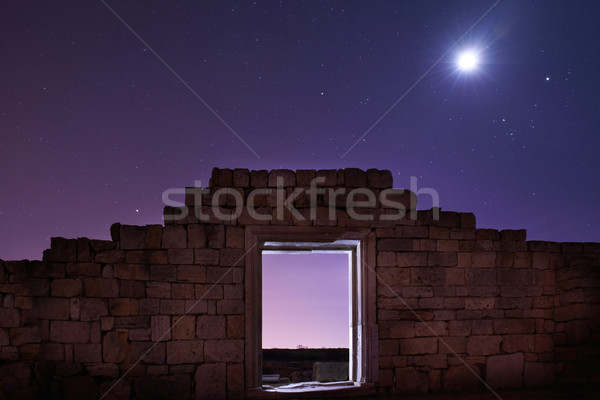 Ruins of ancient city under blue night sky Stock photo © vapi