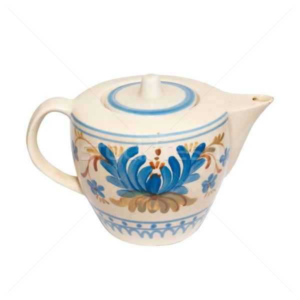 Festett teáskanna izolált fehér étel kávé Stock fotó © vapi
