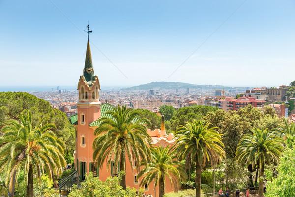 Muzeum parku Barcelona Hiszpania niebo domu Zdjęcia stock © vapi
