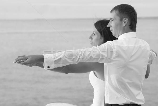 Stock fotó: Gyönyörű · esküvő · pár · menyasszony · vőlegény · tengerpart