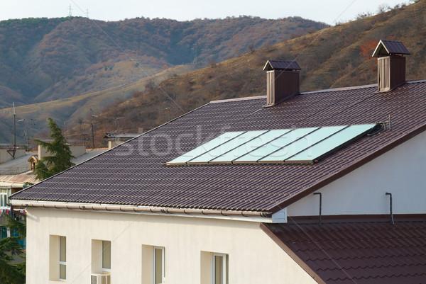Stockfoto: Zonnepaneel · huis · dak · business · technologie · groene