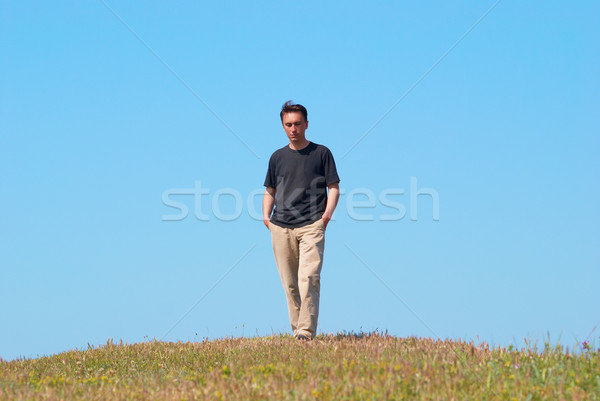 Fiatalember fűmező kék ég mosoly férfi boldog Stock fotó © vapi