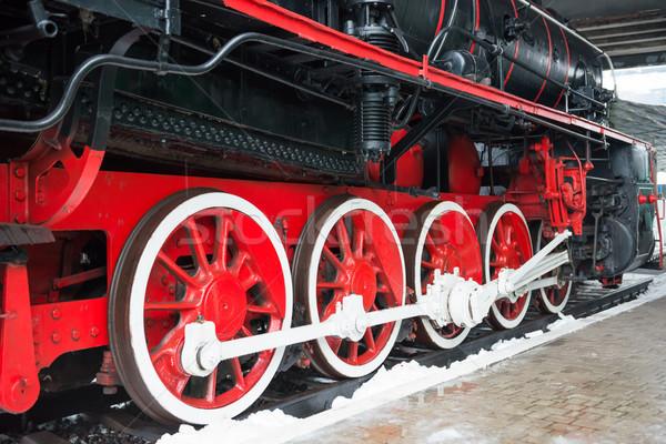 Oude zwarte stoomlocomotief wielen spoorweg track Stockfoto © vapi