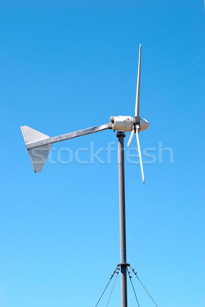 Rüzgâr jeneratör elektrik türbin mavi gökyüzü ışık Stok fotoğraf © vapi