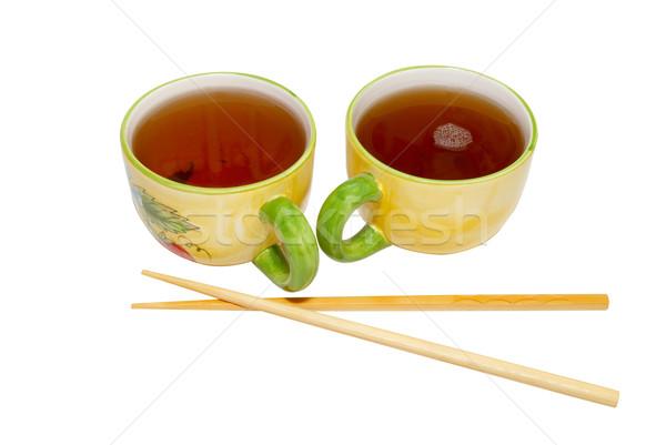 два чай палочки для еды изолированный белый здоровья Сток-фото © vapi