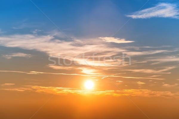 Naplemente égbolt kék narancs felhők nagy Stock fotó © vapi