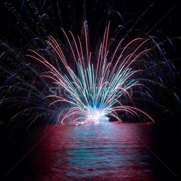 Colorido fogos de artifício azul preto céu férias Foto stock © vapi