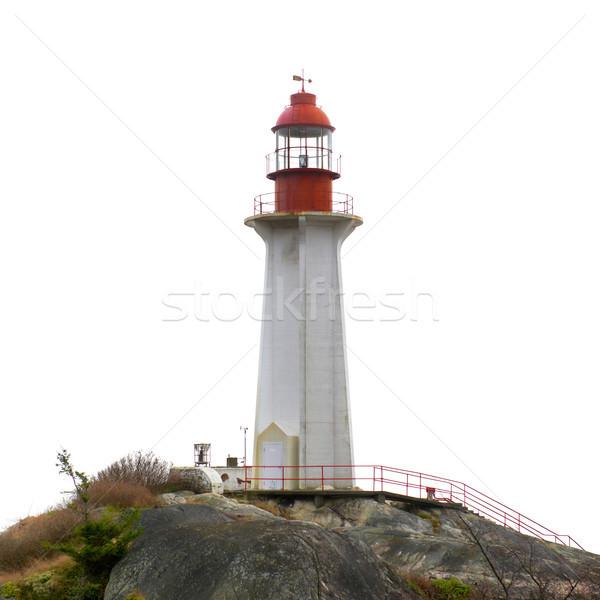 Stok fotoğraf: Deniz · feneri · kaya · yalıtılmış · beyaz · gökyüzü · ev